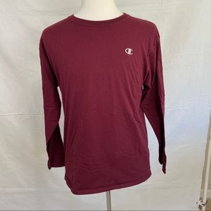 Champion Maroon Long Sleeve Tee Shirt Size Large